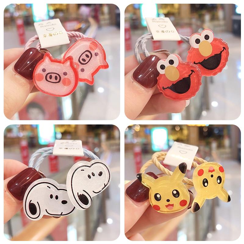 2 Pcs/Set Girls Cute Cartoon Animal 3 Cm Candy Elastic Hair Bands Headwear Scrunchies Rubber Bands Headbands Hair Accessories