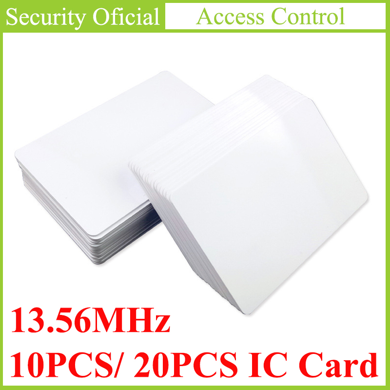 20 шт. рчид-метка, карта контроля доступа, 13,56 МГц, бесконтактные высокочастотные Jetons IC карты, белый ПВХ, карта доступа NFC