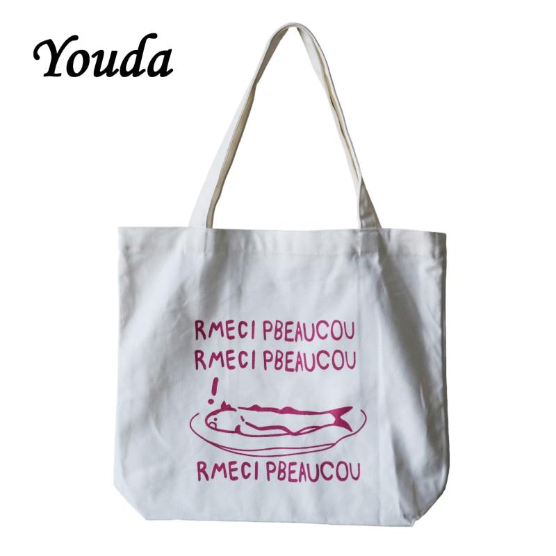 Youda Korean Design Casual Canvas Women Bag Student College Shoulder Women's Bags Portable Green Shopping Tote Simple Handbag