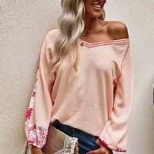Women's v-neck waffle patchwork blouse printed long sleeve tops loose women  blouses urban casual new fasion autumn winter 2021