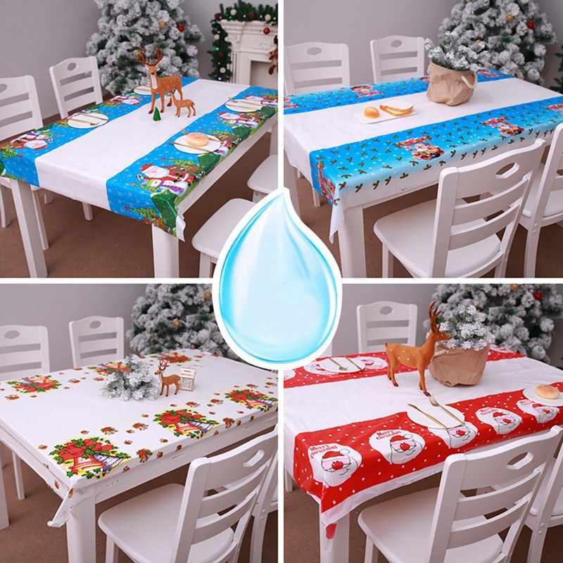 Mantel desechable de Navidad impreso impermeable a prueba de aceite PVC plástico decorativo de la Mesa de la cubierta fiesta en comedor decoraciones wv