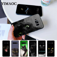 Black Cat Staring Eye On Silicone Case for Samsung S6 Edge S7 S8 Plus S9 S10 S10e Note 8 9 10 M10 M20 M30