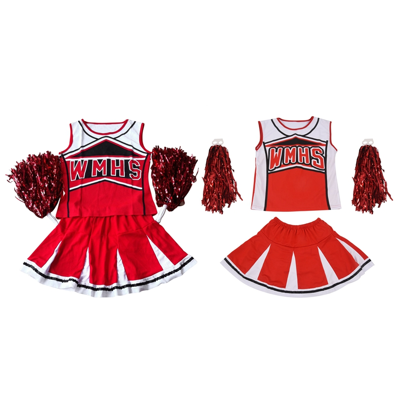 ELOS-Tank Top Petticoat Pom Pom-Pom Cheerleader Cheer Leaders L (38-40) 2 Piece/M (34-36) 2 Piece Suit New Red Costume