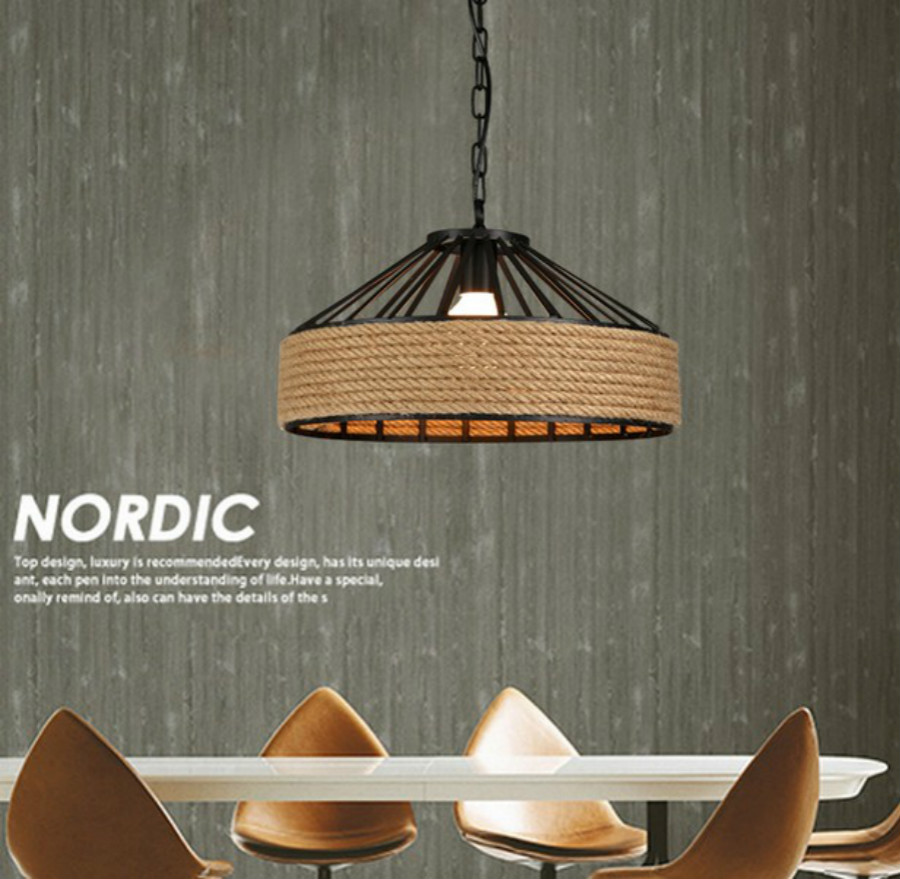 Nordic Loft Style Iron Hemp Rope LED Industrial Vintage Pendant Lamp Dining Room Hanging Light Fixtures Indoor Lighting