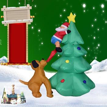 1.8m funny inflatable santa climbs dog new year christmas decoration garden toy christmas tree