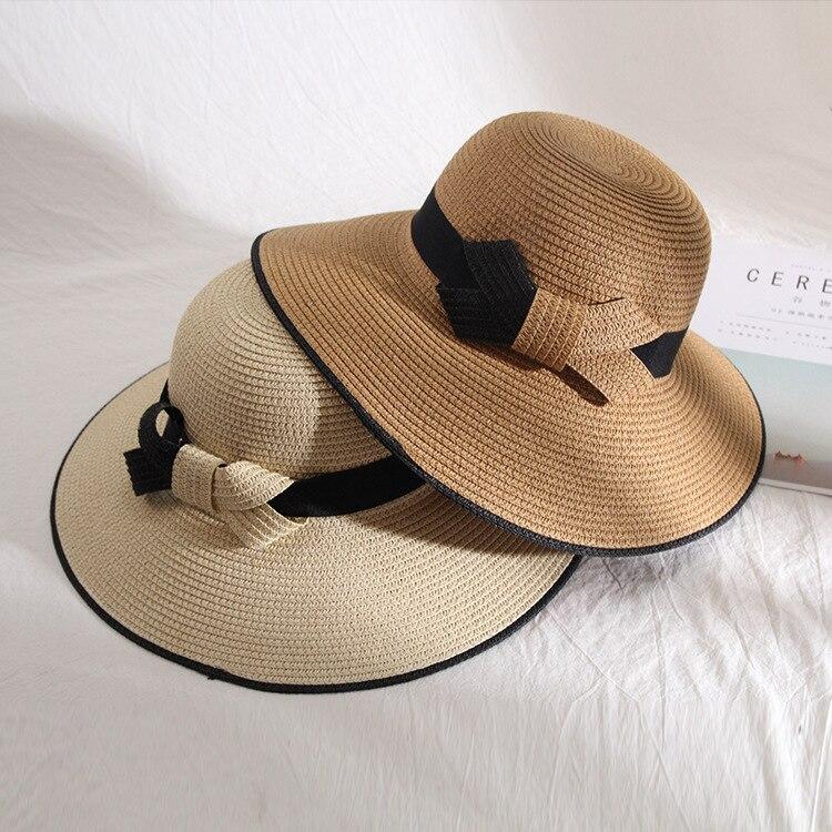 2020 New Fashion Bowknot Black White Straw Sun Hat Ladies Summer Beach Sun Visor Hats Oversize Wide Brim Hats For Women