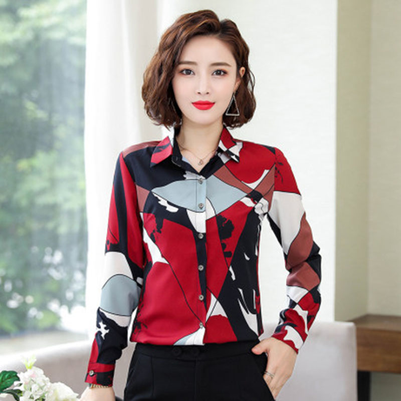 Long sleeve red printed chiffon shirt women 2020 spring and autumn new fashion shirt Korean floral blouse women Single-breasted