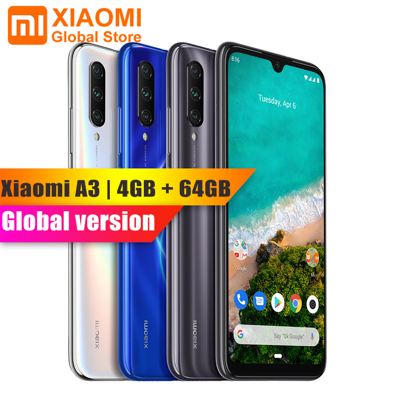 Global Version Xiaomi Mi A3 4GB 64GB 4030mAh 48MP Snapdragon 665 Octa Core Triple Camera Fingerprint Sensor Mobile Phone CC9E