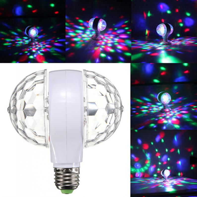 6W 110v 220v Colorful Auto Rotating RGB Crystal Stage Light Magic Double Balls DJ Party Sisco Effect Bulb Lamp