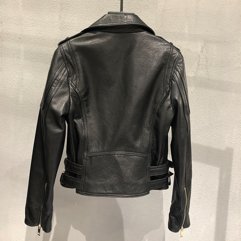 Moto Biker Women Luxury Sheepskin Real Leather Short Jacket Buckle Punk Coat Vintage Outerwear Slim Fit Genuine Leather Chaqueta