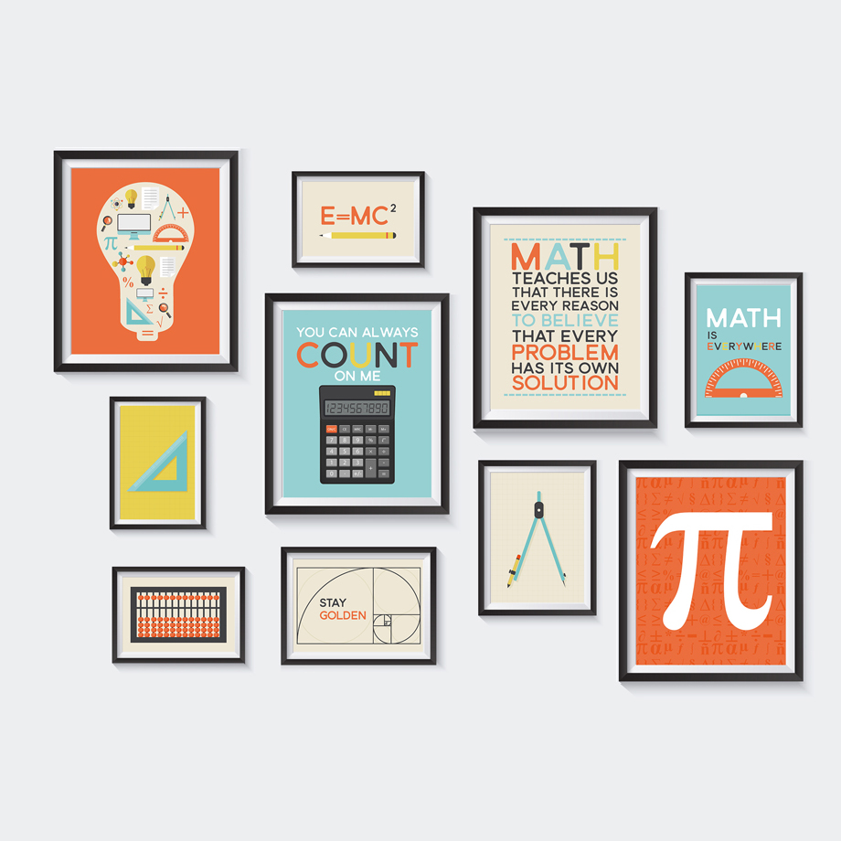 Home Decor Modular Pictures Nordic Canvas Painting Math Rule Calculator <font><b>Fibonacci</b></font> <font><b>Posters</b></font> Early Education Kids Room Wall Artwork image
