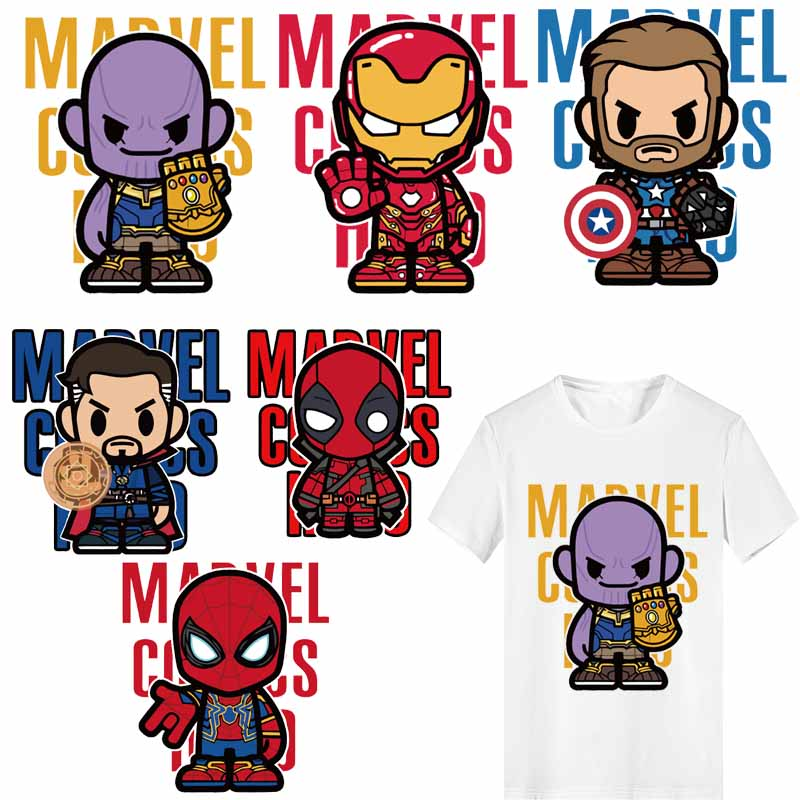 Superhero <font><b>Patch</b></font> Heat Transfer Vinyl Thermo Stickers Stickers <font><b>for</b></font> <font><b>Clothing</b></font> <font><b>Marvel</b></font> Spiderman Iron-man <font><b>Patches</b></font> Stripes <font><b>for</b></font> Clothes image