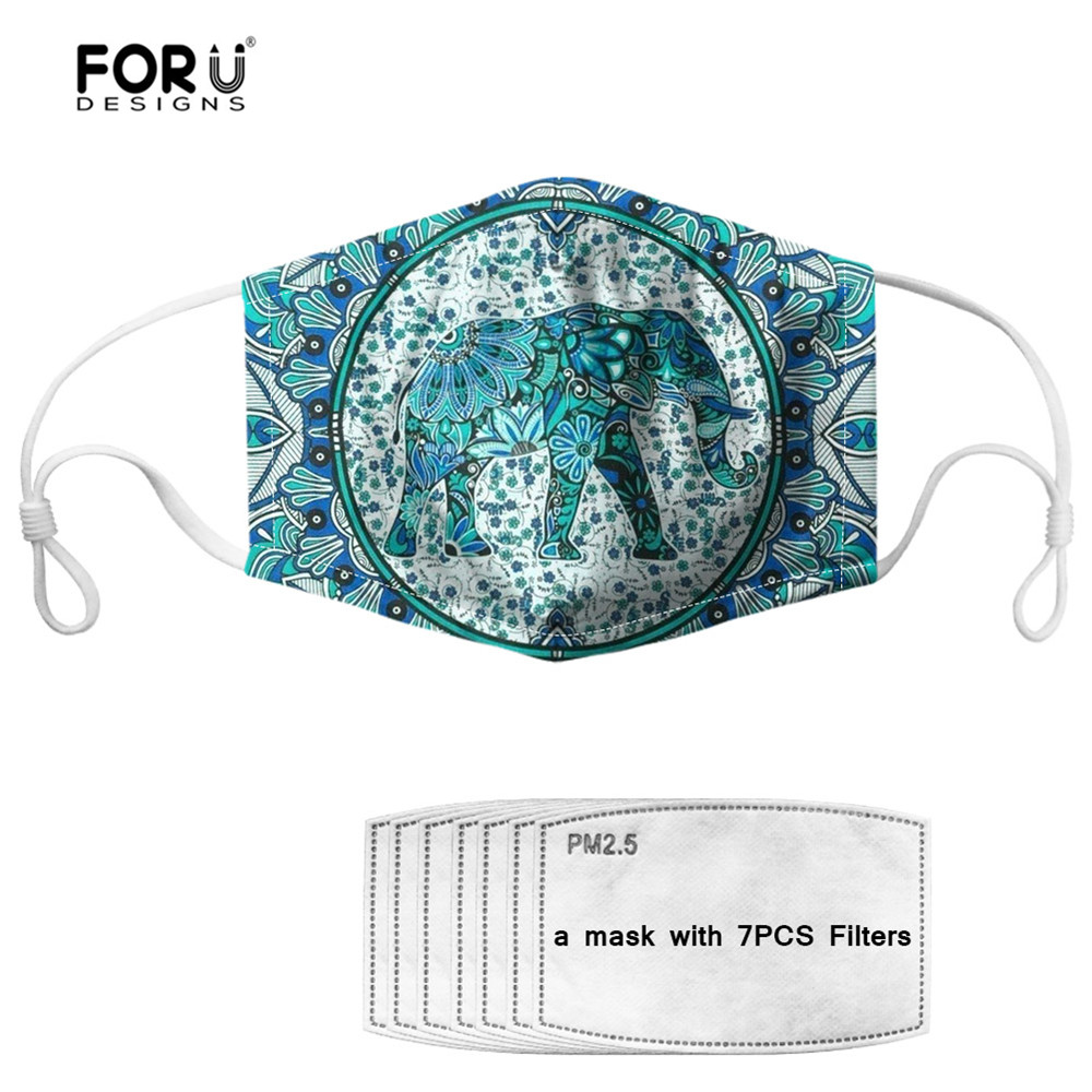 FORUDESIGNS Masque Bohemian Elephant Mandala Style Dustproof Face Mask With 7 Filters Breathable Germ Protection Mouth Mask Kid