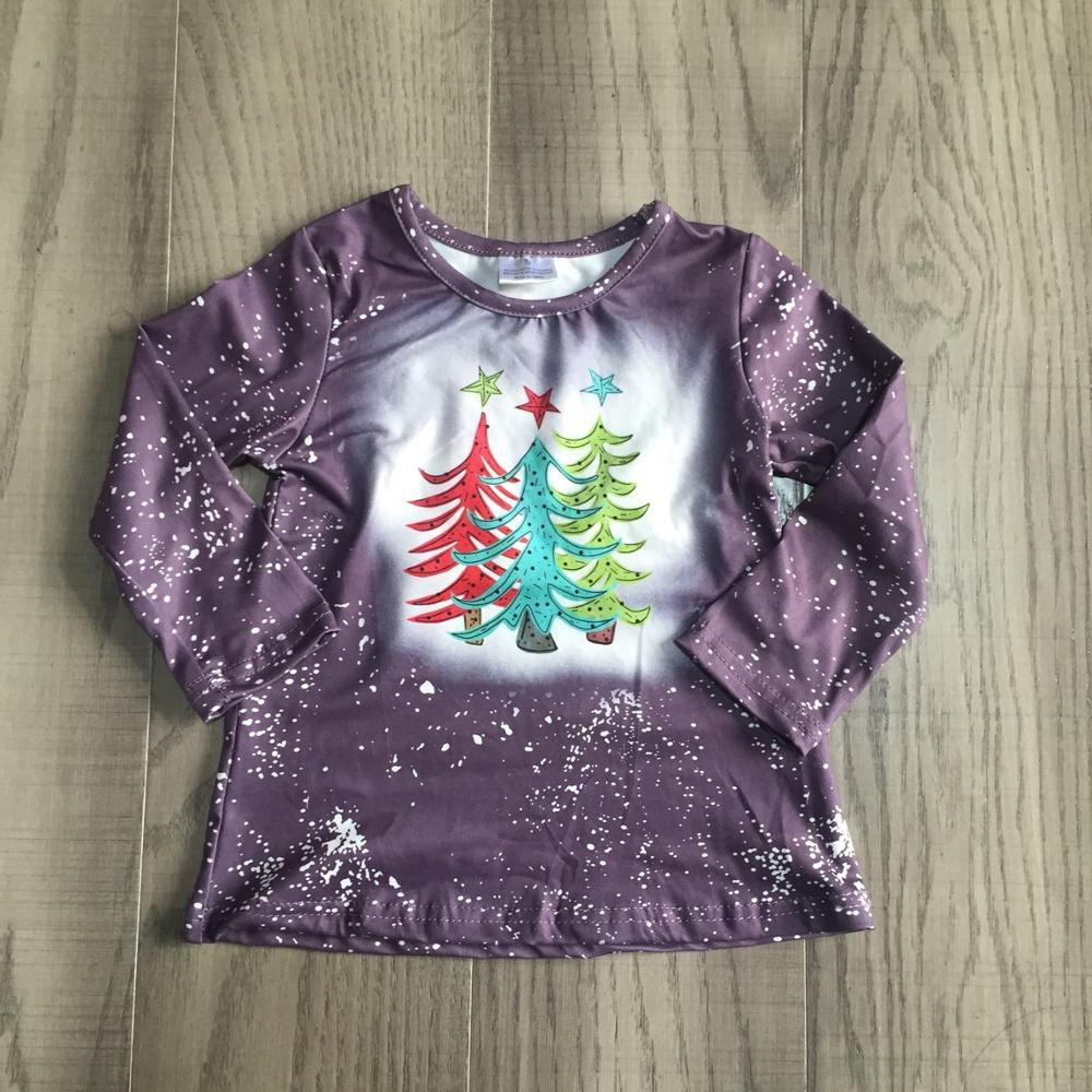 Girlymax merry Christmas tree Fall/winter grey plum tie dyed tie knot cotton top long sleeve t-shirt baby girls raglans boutique 2
