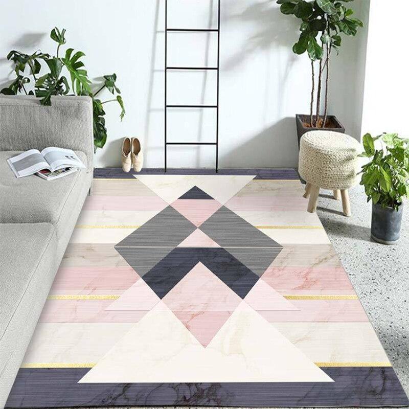 Washable polyester Fabrics Carpet Rug For Living Room Modern Printing Geometric Floor Child Kids Play Mat For Parlor Mat Bedroom
