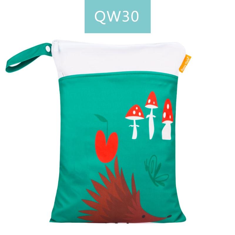 Happy Flute 1 шт. Многоразовые водонепроницаемые модные принты влажная сухая сумка для подгузников двойной карман тканевая Ручка сумки для мокрого плавания 30*40 см - Цвет: ES001QW30