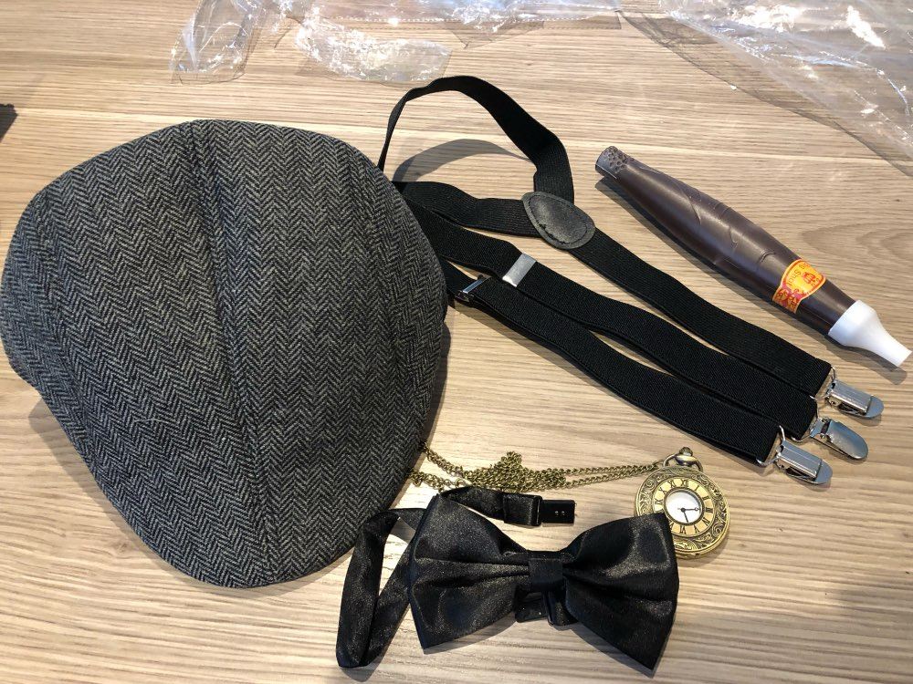 1920s Mens Gatsby <font><b>Gangster</b></font> Costume Accessories Set 30s Manhattan Fedora Hat Suspenders pocket watch image