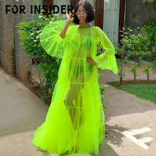 For Insider Fluorescent green mesh maxi dress Women plus size transparent sexy party long Female flare sleeve loose