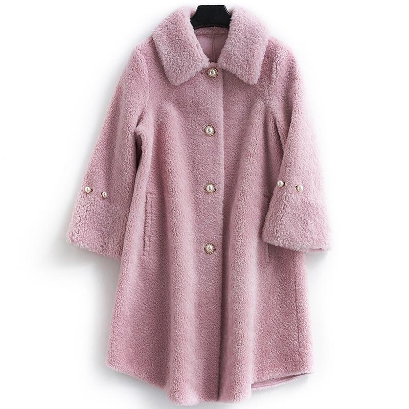 Coat Fur Real Female Sheep Shearling Fur Coats Winter Jacket Women 100% Wool Coat Female Korean Long Jackets MY3835 S S