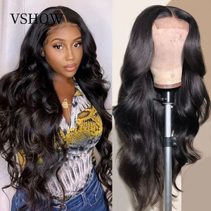 Full Lace Human Hair Wigs Pre Plucked VSHOW 180 Density Body Wave HD Transparent Lace Front Wig 13x6 Remy Hair Wigs For Women(China)