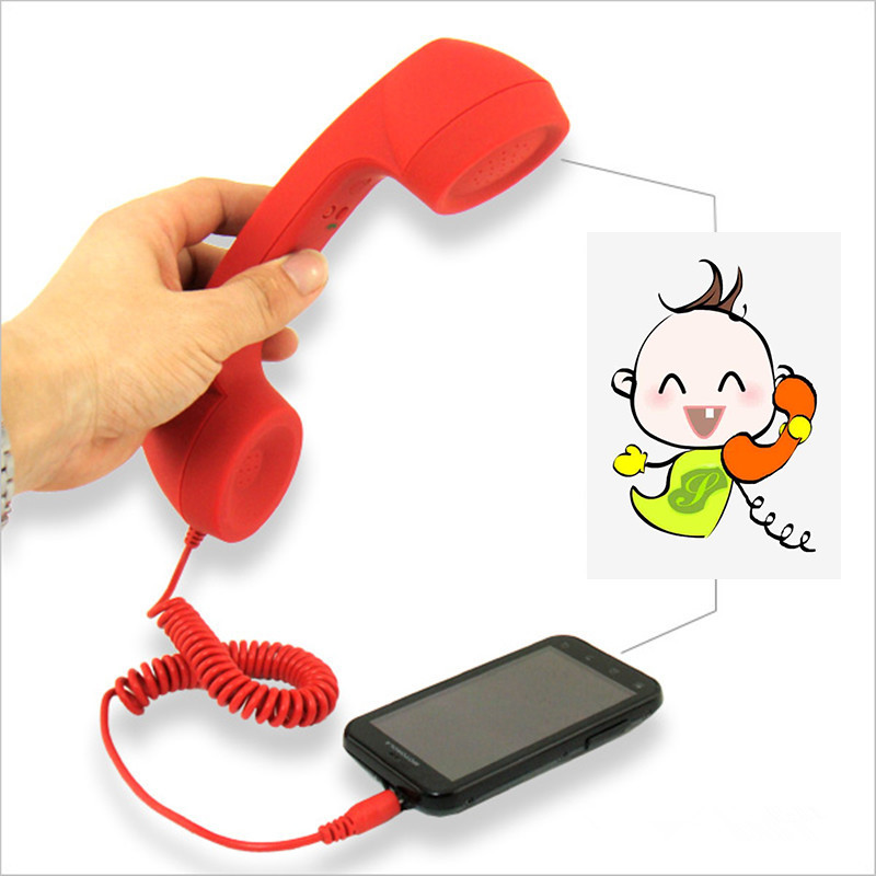 Vintage 3.5 Mm AUX Telephone Handset Novelty Toys For Kid Adult Mic Speaker Mobile Phone Receiver For Smartphone Computer Laptop