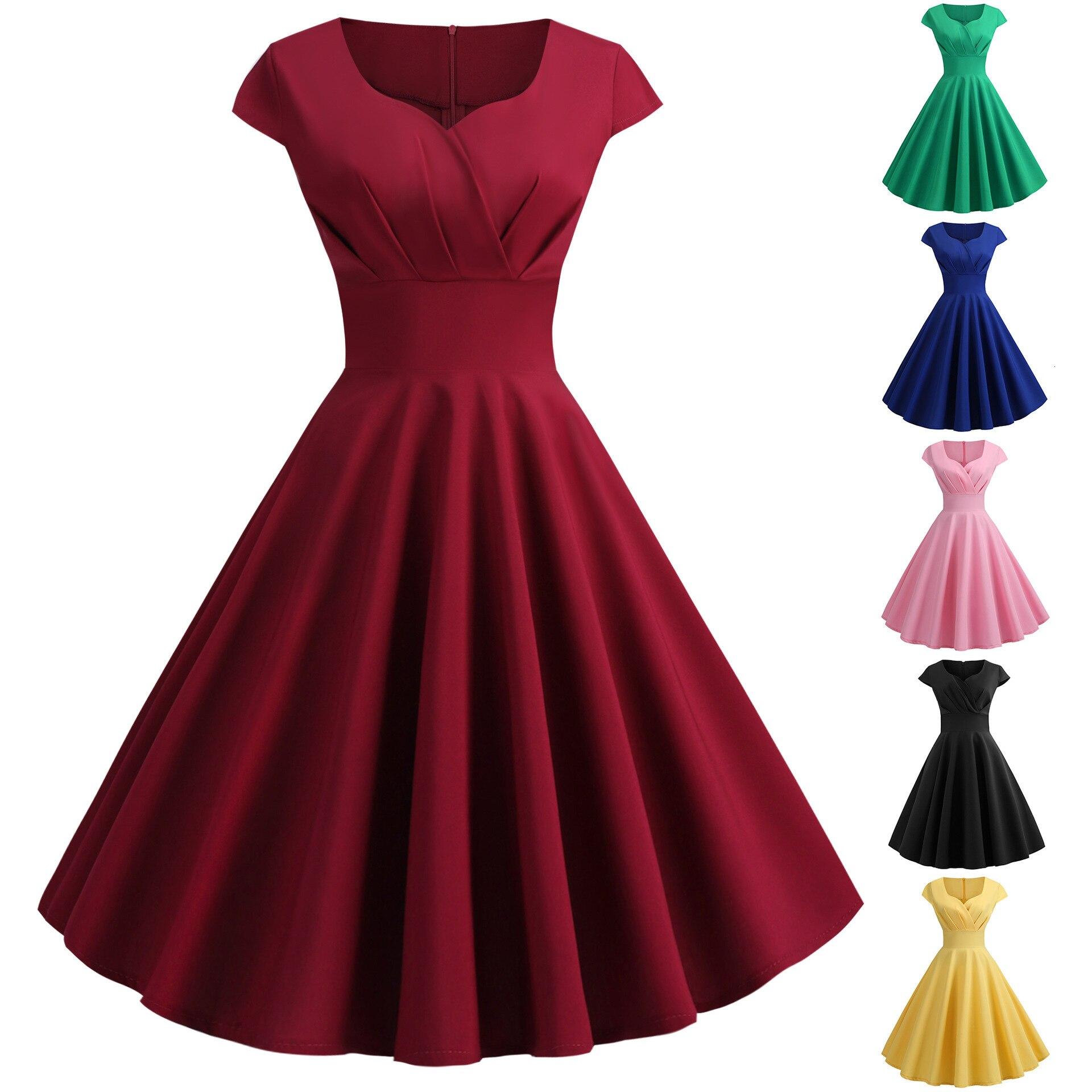 Backlake Girls Summer V Neck Cap Sleeve Solid Color Coctail Dress A Line Knee-length Formal Dresses Sukienki Koktajlowe