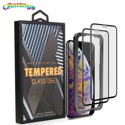 3 pacote protetor de tela para iphone 11 pro max 10x mais forte novo protetor de vidro temperado livre aplicador para iphone xs xr xs max