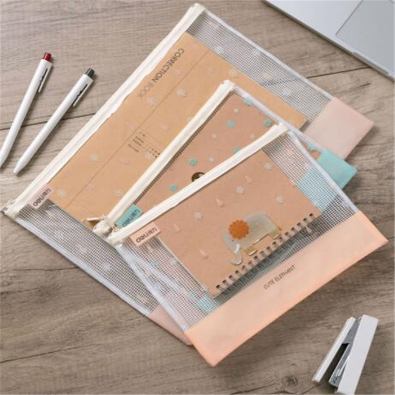 Plastic Transparent File Bag School Supplies Folders A4 Portable Document Pouch Zip Student Stationery Storage School Supplies