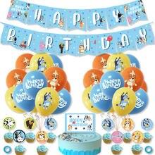 Bruy tema bingo 12 polegada látex balões aniversário das crianças bluey festival celebrar a família pet festa bandeira topper terno decoração
