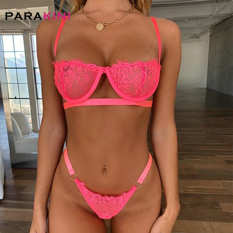 PARAKINI Sexy Lace Bikini Set Women Black White Lingerie Trim Strap Swimwear Soft Push Up Top Deep V Cross Back Transparent Cup