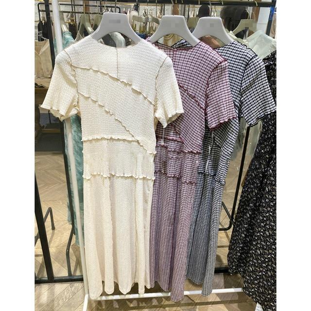 Neploe Chic Wooden Ear Patchwork Pleated Women Dress 2021 Spring Summer Drawstring Vestidos New High Waist Plaid Dresses 1H970 2