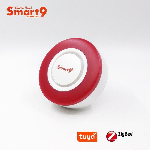 Smart9 ZigBee Alarm Hooter współpracuje z hubem TuYa ZigBee, inteligentną syreną z automatyką dźwięku i latarka przez Smart Life App