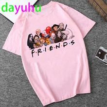 Friends Tv Show Funny Cartoon T Shirt Women Harajuku Ullzang 90s T-shirt Graphic Summer Tshirt Oversized Ladies Top Tees Female