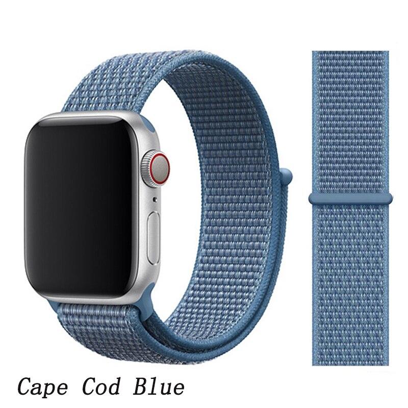Спортивная петля ремешок apple watch band 42 мм 38 мм apple watch 4 3 band iwatch band 44 мм 40 мм correa pulseira 42 44 нейлоновый ремешок для часов - Цвет ремешка: NEW Cape Cod Blue