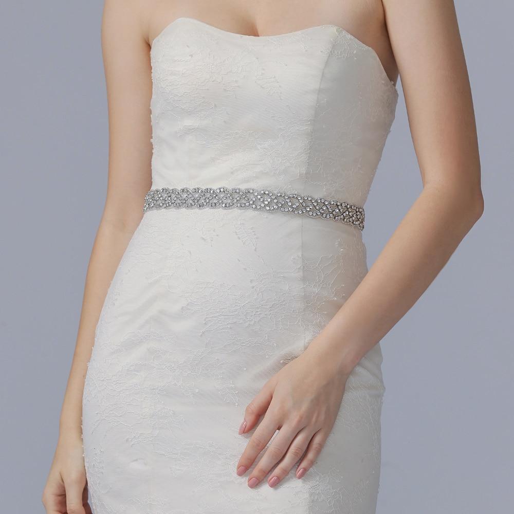TRiXY S216 Wedding Belt Sash Bridal Belts With Rhinestones Silver Diamond Belts For Dresses Skinny Beaded Belt Jewelry Sash Belt