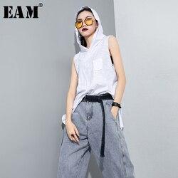 Женская футболка с капюшоном [EAM], белая футболка без рукавов с дырками и разрезом 1T467, весна-осень 2020