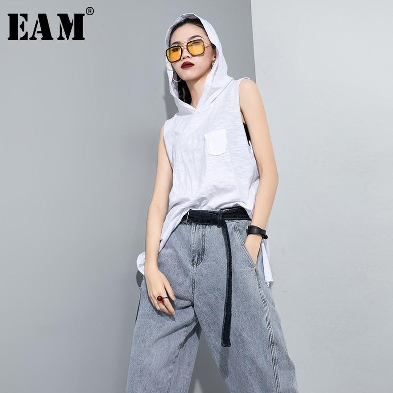 [EAM] Women Holes Split Joint Brief Temperament T-shirt New Hooded Sleeveless Fashion Tide Spring Autumn 2020 1T467