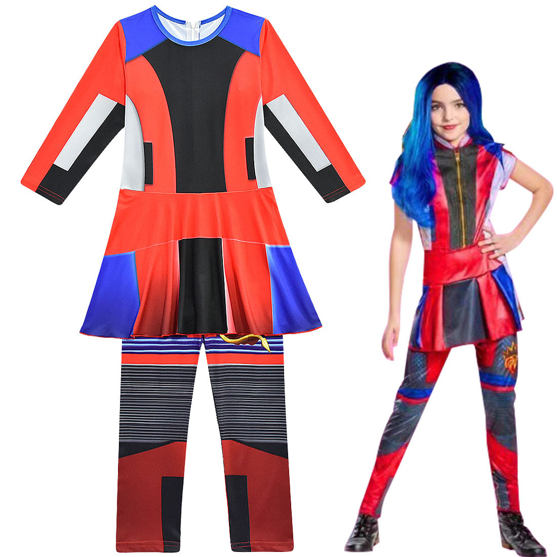 Halloween Costumes For Girls Vocaloid Cosplay Descendants 3 Evie Mal Audrey Kids Jumpsuits Zentai Funny Carnival Party Clothes