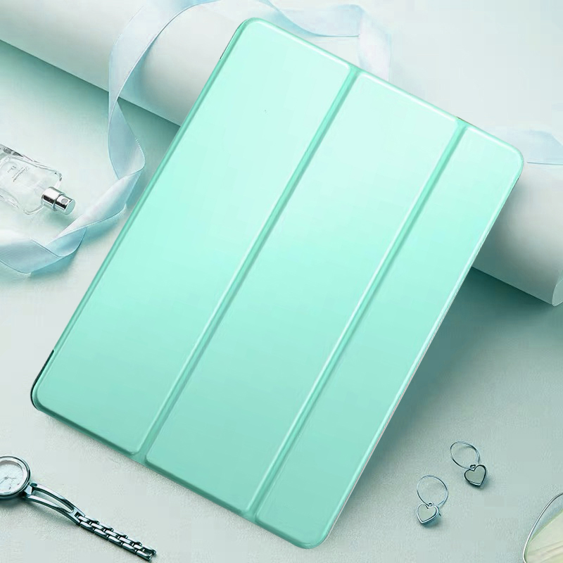 Mint Green Green Tablet Case For Apple iPad 10 2 2020 8th generation Tri fold Flip PU Leather Cover