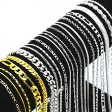 16-30 Inches Fashion Silver Plated Figaro Chain Twist Curb Necklaces for Men Women Long Chain Necklaces Lots Wholesale(China)