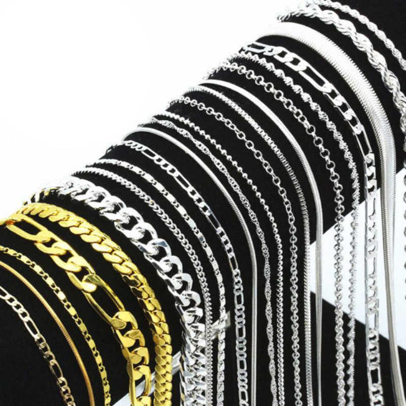 Or argent souillé Figaro lien torsion gourmette serpent chaîne collier pour hommes femmes pendentif accessoires Lots en gros 16-30 pouces