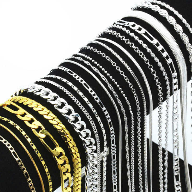 Złoto srebro zabrudzone Figaro Link Twist Curb wąż łańcuszkowy naszyjnik dla mężczyzn kobiety wisiorek akcesoria wiele hurtowych 16-30 cali