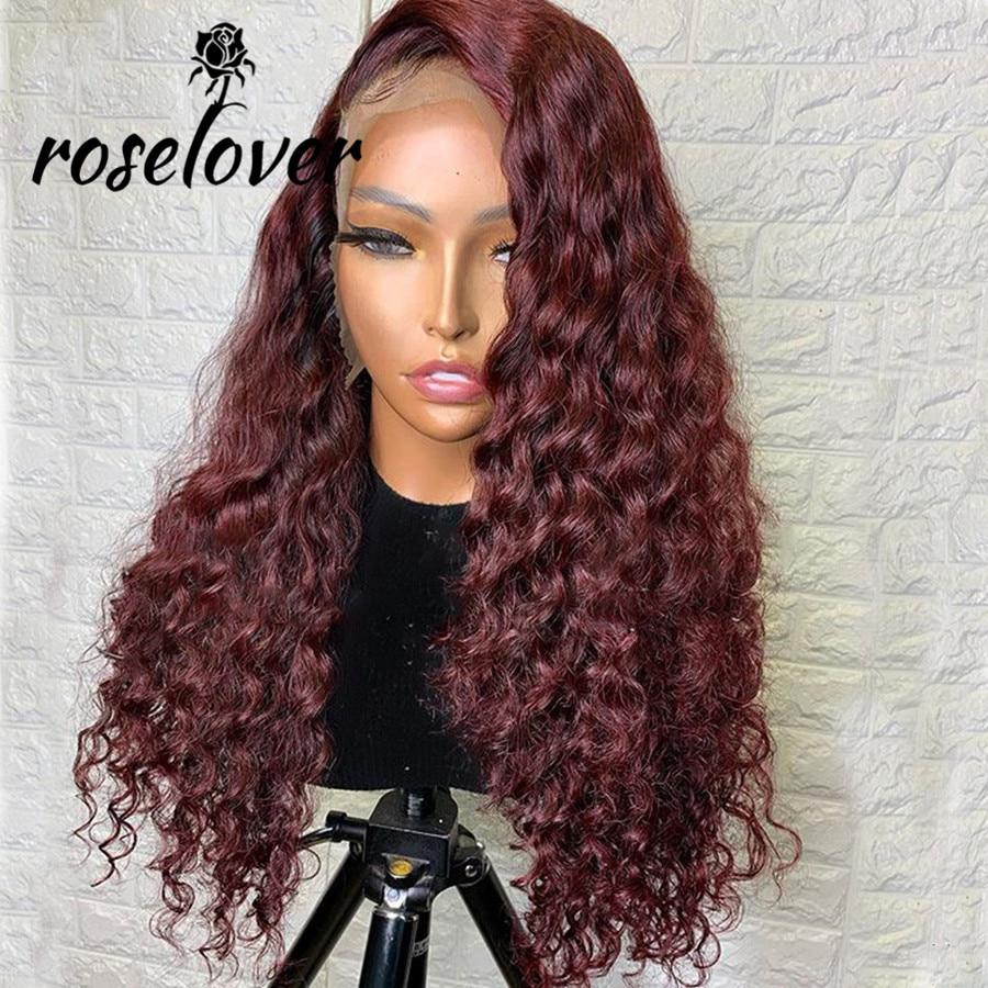 Roselover Бургундия 13*6 кружевные передние человеческие волосы парики 99J вьющиеся человеческие волосы парик Remy бразильские предварительно выщи...