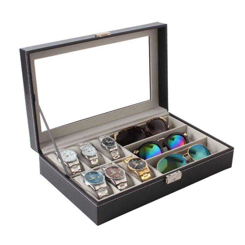6 Слот для мужчин часы очки коробка Кожаный Дисплей Чехол Органайзер, хранение бижутерии коробка