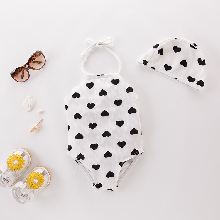 Girl'S One-piece Swimming Suit Black And White Heart With Hat-Children Hot Springs Bathing Suit