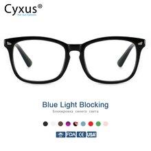 Cyxus azul luz bloqueando óculos de computador anti uv fadiga dor de cabeça óculos lente clara jogos eyewear para mulheres dos homens 8082