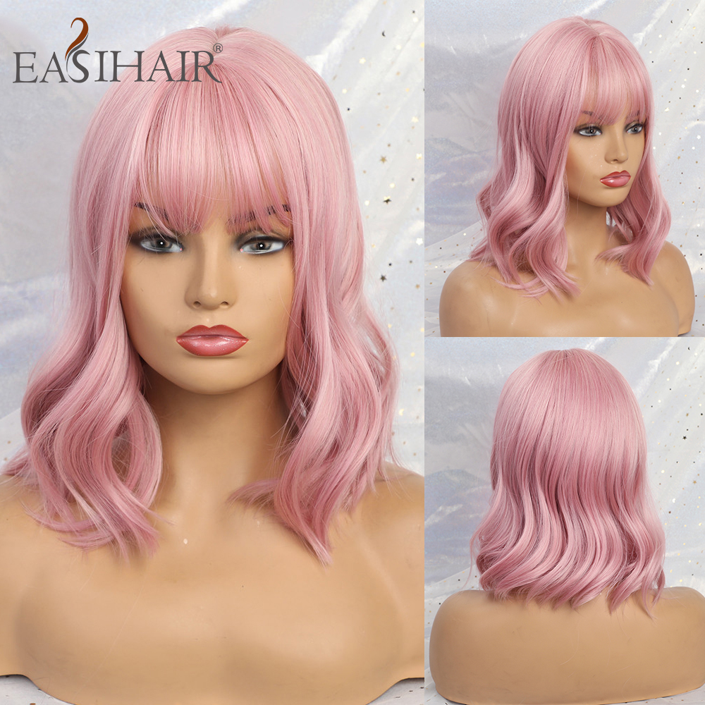 EASIHAIR Short Wave Wigs With Bangs Pink Synthetic Wigs For Black Women Body Wavy Cosplay Wigs High Temperature Fiber Hair
