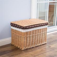 Large Laundry Storage Basket With Lid Dirty Clothes Toy Wicker Basket Home Organizer Box Sundries Snack Hamper Storage Container