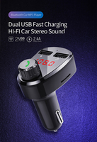 fm tf Car Charger with FM Transmitter Bluetooth Receiver Audio MP3 Player TF Card  Car Kit Dual USB Car Phone Fast Charger (1)