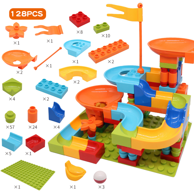 Promotion 128pcs Marble Race Run Block Big Size Compatible Duploed Building Blocks Plastic Funnel Slide DIY Assembly Bricks Gift